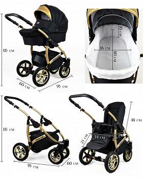 Kočárek Baby Lux Gold Lux - rozměry