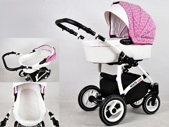 Kočárek BabyLux White Lux v provedení Dark Pink