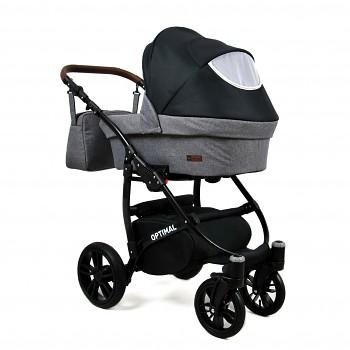 Kočárek Baby Lux Optimal White v provedení Black Grey
