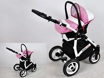 Kočárek Raf-Pol Baby Lux White Lux v provedení Pink