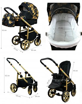 Kočárek Baby Lux Colorlux Gold - rozměry