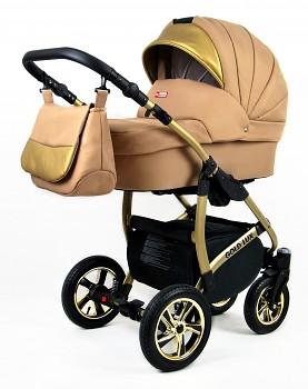 Kočárek Baby Lux Gold Lux 01 Sand Pearl 2019 - zlatý podvozek
