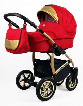 Kočárek Baby Lux Gold Lux 06 Scarlet červená 2019 - zlatý podvozek