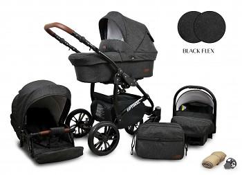 Kočárek Baby Lux Optimal Black Black Flex 2019