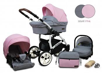 Kočárek Baby Lux Optimal White Light Pink 2019