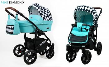 Kočárek Baby Lux Optimal Black Mint Diamond 2019