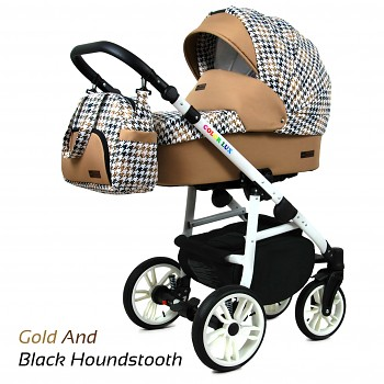 BabyLux Colorlux White Gold And Black Houndstooth